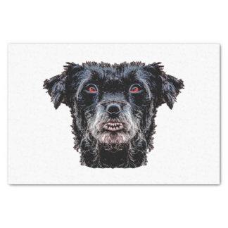Cabeza de perro negro del demonio papel de seda