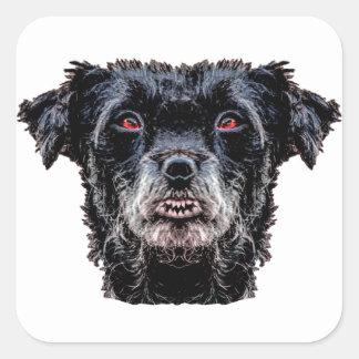 Cabeza de perro negro del demonio pegatina cuadrada