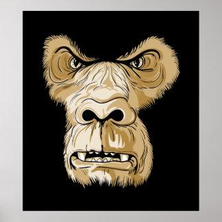 Cabeza del gorila en fondo negro póster