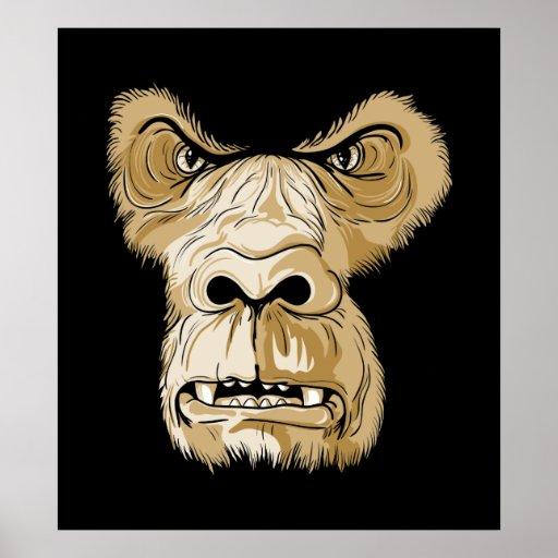 Cabeza del gorila en fondo negro impresiones