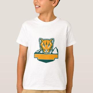 Cabeza del león de montaña del puma retra camiseta
