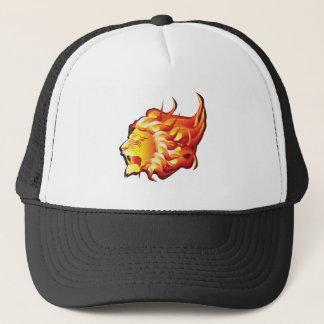 Cabeza del león del fuego gorra de camionero