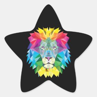Cabeza del león en negro pegatina en forma de estrella