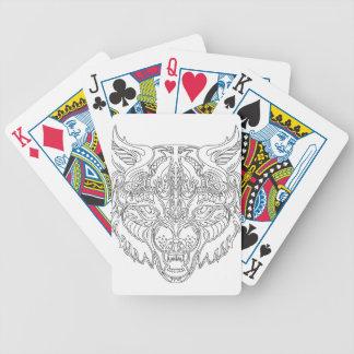 cabeza del lobo baraja de cartas bicycle