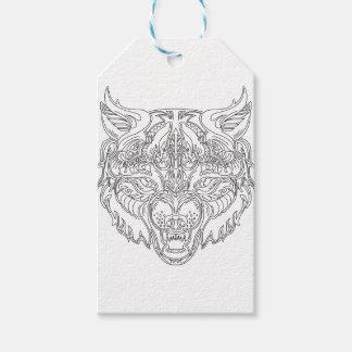 cabeza del lobo etiquetas para regalos