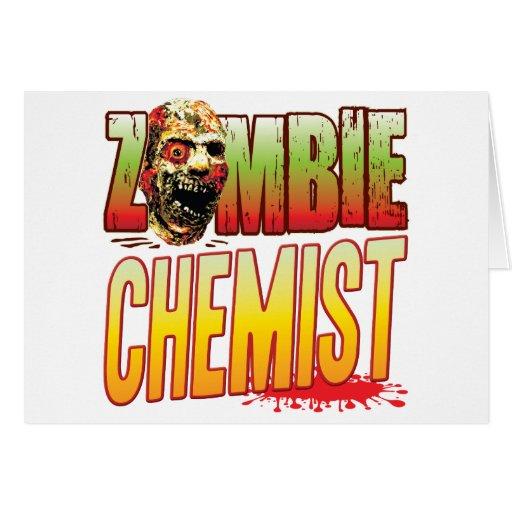 Cabeza del zombi del químico felicitacion