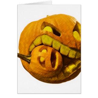 Cabeza divertida de la calabaza de Halloween Tarjeton