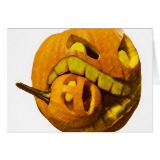 Cabeza divertida de la calabaza de Halloween Felicitacion