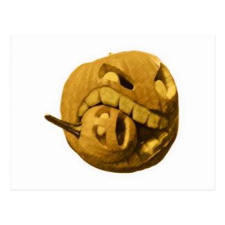 Cabeza divertida de la calabaza de Halloween Postal