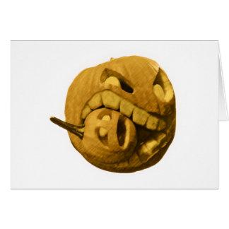 Cabeza divertida de la calabaza de Halloween vers Felicitacion