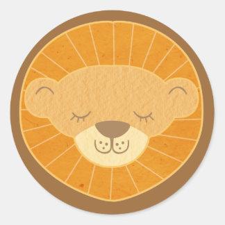 Cabeza linda del león de los niños pegatina redonda