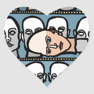 Cabezas del maniquí pegatina en forma de corazón