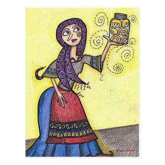 Cabezas en un arte popular ucraniano del tarro postal