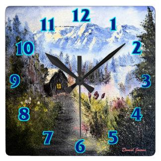 Cabina de la montaña reloj cuadrado
