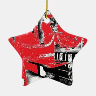 Cabina del restaurante en rojo ornamentos de reyes magos