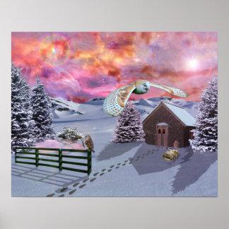 Cabina en la nieve póster