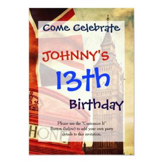 Cabina y Big Ben de teléfono roja en Londres, Invitación 12,7 X 17,8 Cm
