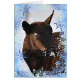 Cabra con una tarjeta nevosa de Navidad de la