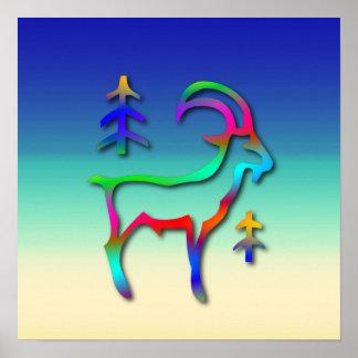 Cabra del color del arco iris de la muestra de la  posters