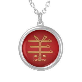Cabra del símbolo del zodiaco/plata chinas del colgante redondo