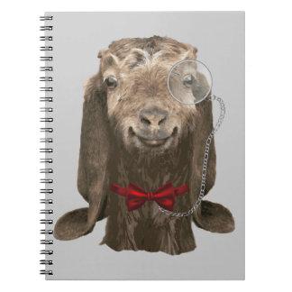 Cabra divertida de Nubian con el monóculo Cuadernos