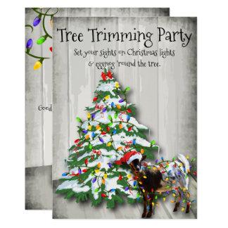 Cabra divertida del fiesta del ajuste del árbol de invitación 12,7 x 17,8 cm