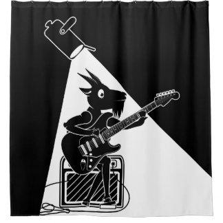 Cabra que toca una guitarra eléctrica cortina de baño