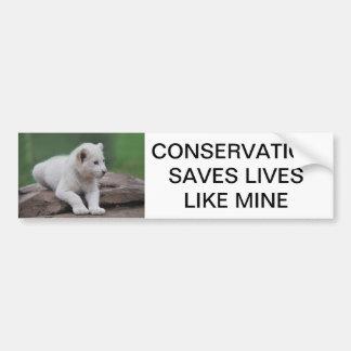 Cachorro de león blanco del bebé 2 pegatina para coche