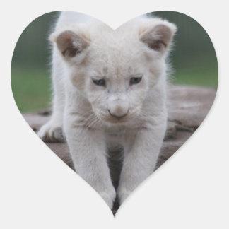 Cachorro de león blanco del bebé pegatina en forma de corazón