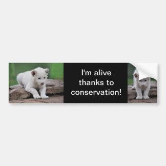 Cachorro de león blanco del bebé pegatina para coche