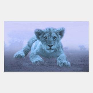 Cachorro de león lindo del bebé pegatina rectangular