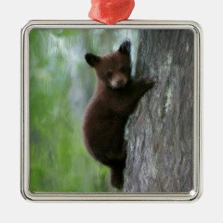 Cachorro de oso en árbol adorno navideño cuadrado de metal