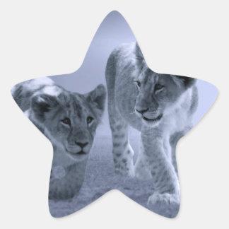 Cachorros de león del bebé en el juego pegatina en forma de estrella