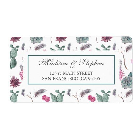 Cactus de Boho, suculento y floral - boda Etiqueta De Envío