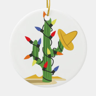 Cactus de navidad adorno navideño redondo de cerámica