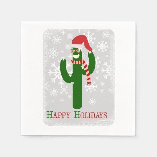 Cactus de navidad divertido servilleta desechable