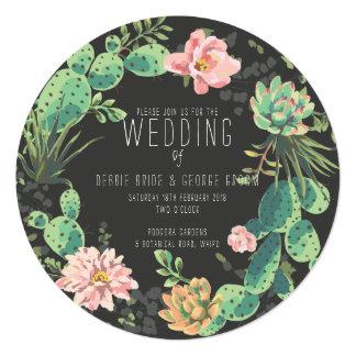 Cactus e invitaciones suculentas, boda de la