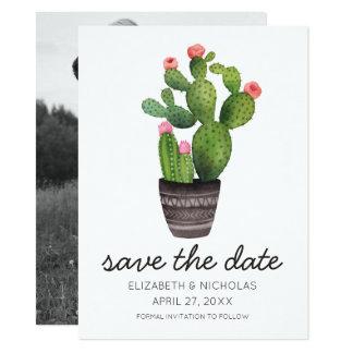 Cactus floral rosado - ahorre la fecha invitación 13,9 x 19,0 cm