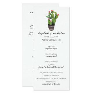 Cactus floral rosado invitación 10,1 x 23,5 cm
