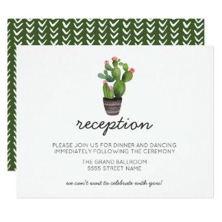 Cactus floral rosado invitación 10,8 x 13,9 cm