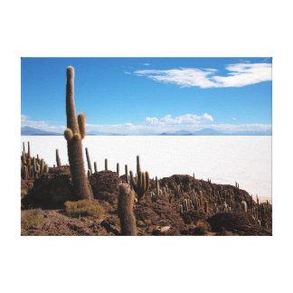 Cactus gigante en la lona de Salar de Uyuni Lona Envuelta Para Galerías