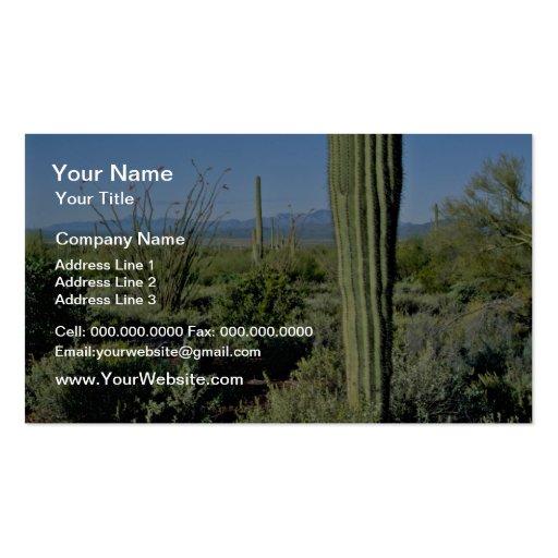 Cactus jovenes del Saguaro, flores florecientes de Plantilla De Tarjeta De Negocio