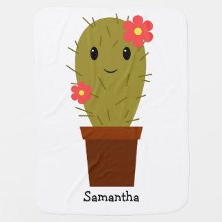 Cactus lindo de la niña mantitas para bebé