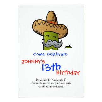 cactus mexicano con el bigote invitación 12,7 x 17,8 cm