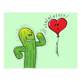 Cactus que liga con un globo del corazón postal