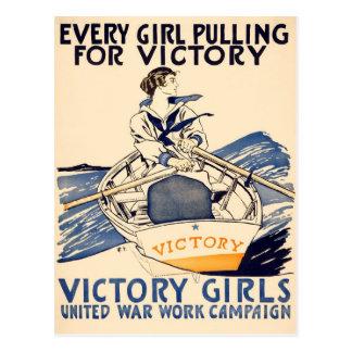 Cada chica que tira para la postal de la victoria