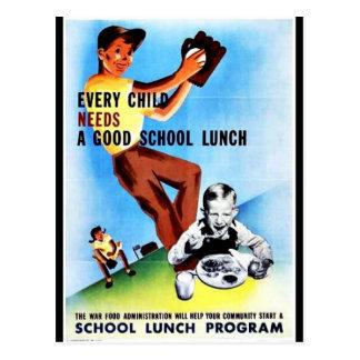 Cada niño necesita un buen almuerzo escolar tarjeta postal
