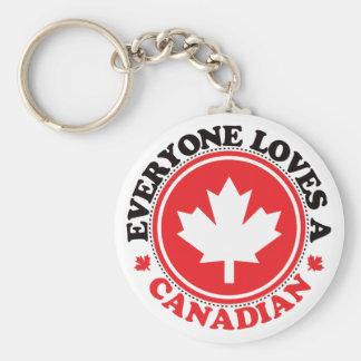 ¡Cada uno ama a un canadiense! Llavero Redondo Tipo Chapa