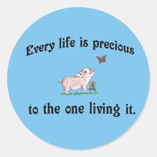 ¡Cada vida es preciosa! Pegatina de los derechos