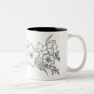 Cadena de flores taza de café de dos colores